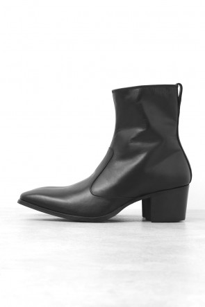 Side Zip Leather Heel Boots