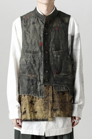 """ZIGGY CHEN21-22AW""""Double Layer"""" Single Breasted Waistcoat -Green"""