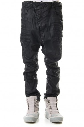 11 BY BORIS BIDJAN SABERI 19-20AW Waxed Coating Damaged processing Baggy Pants