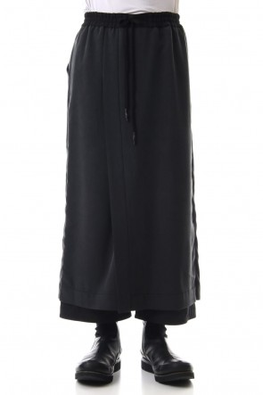 DEVOA 19SS HAKAMA Pants Silk Herringbone Sand Blast Finish - Black
