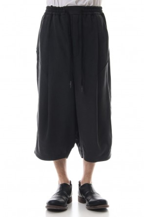DEVOA 19SS Cropped Wide Pants Silk Herringbone Sand Blast Finish - Black