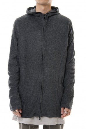 RIPVANWINKLE 20PS CROSS NECK HOODIE C.Gray