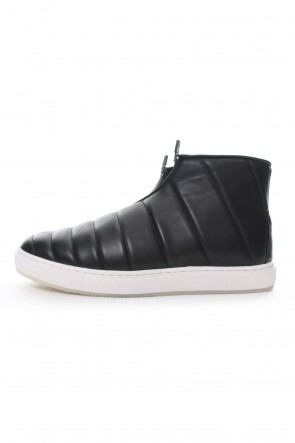 RIPVANWINKLE 18-19AW Smooth Leather Kilt Stitch Slip On High RB-033 BLACK×WHITE
