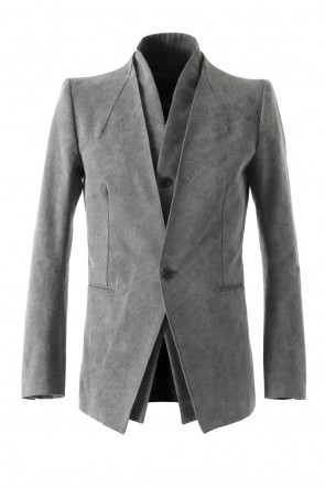 SADDAM TEISSY 17-18AW Layered Collarless Tailored Jacket Gray