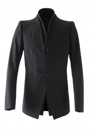 Layered Collarless Tailored Jacket Black
