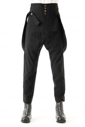 SHEER GABARDINE PLEATED TAPERED PANT W/ SELF SUSPENDERS