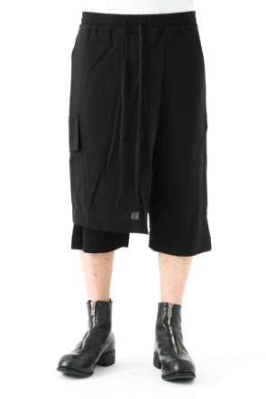 SHEER GABARDINE ELASTICATTED BUCKET SHORTS W SKIRT