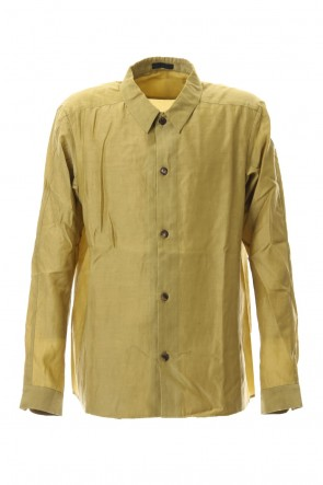 DEVOA 20SS Open collar shirt silk tencel sandblast Dirty Yellow