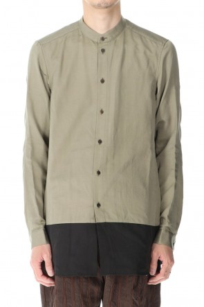 DEVOA 21SS Shirt silk/wool satin sandblast finish Sand Beige Combi