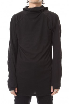 SADDAM TEISSY 19-20AW Yak india Gauze balaclava Hooded long sleeve T-shirts - ST101-0079A Black