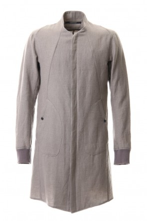 D.HYGEN 20-21AW Wool Linen Minimal High neck Long shirt Gray