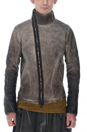 D.HYGEN22SSCold Dyed Horse Leather High Neck Jacket  Charcoal