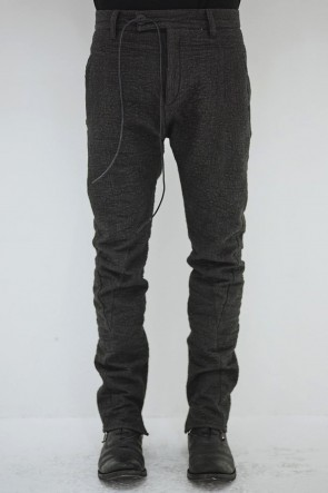 SADDAM TEISSY19-20AWHand Dyed Linen ×  Freece Needle Punch  Drop Crotch Slim Pants - ST107-0039A
