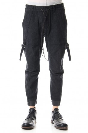 D.HYGEN 19-20AW Wool × Cotton Serge Harness Tapered Cropped Pants - ST107-0069A