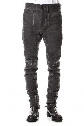 SADDAM TEISSY 19-20AW Dirty Coating Cold Dyed Curve Slim Pants - ST107-0049A Charcoal