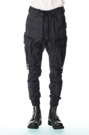 D.HYGEN 21SS Carbon Coated Denim Drop Crotch Cargo Slim Pants