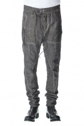 D.HYGEN 21SS Linen and rayon jacquard stripe drop-crotch slim pants Charcoal