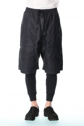 D.HYGEN 21SS Carbon coated nylon drop-crotch shorts