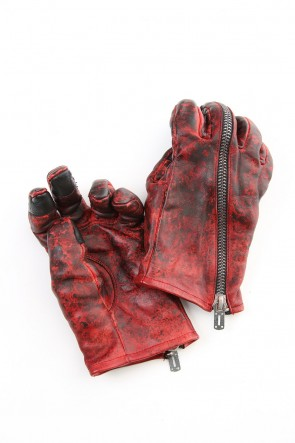D.HYGEN 20-21AW Dusty leaf Horse Leather Zip Gloves Red