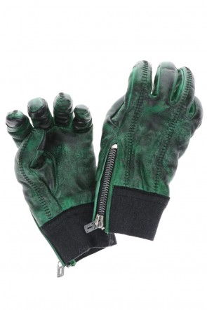 D.HYGEN 20-21AW Dusty leaf Horse leather Over lock gloves Green