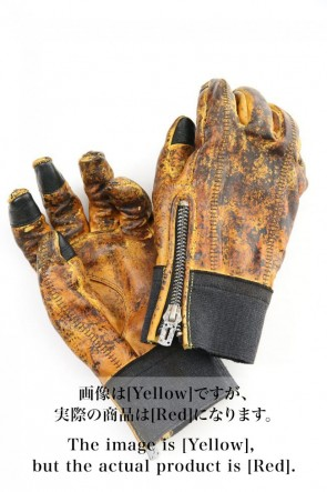D.HYGEN 20-21AW Dusty leaf Horse leather Over lock gloves Red