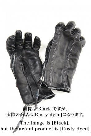 D.HYGEN 20-21AW Rusty dyed Horse Leather Zip Gloves