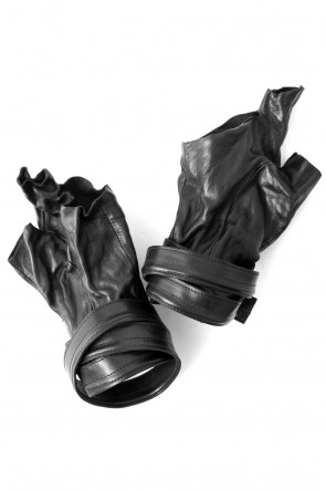 SADDAM TEISSY 18SS Horse Leather Strap Fingerless Gloves
