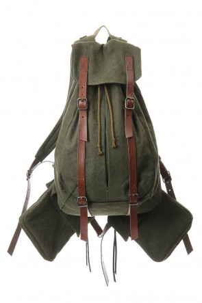 D.HYGEN20-21AWJute x Cotton Military Twill Bag Attached Bag Pack Khaki