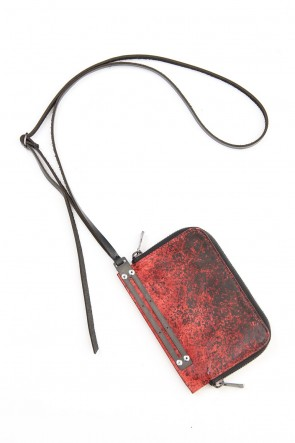 D.HYGEN 20-21AW Dusty Leaf Horse Leather Neck Wallet Red