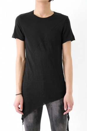 17SS Slash seamed in combination of cotton & linen black short sleeve