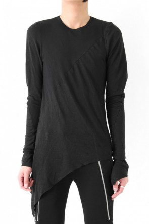 17SS Slash seamed in combination of cotton & linen black long sleeve