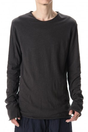 WARE 20SS Cotton W-face L/S T-Shirts Black x D.Gray