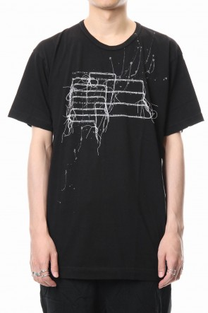 The Viridi-anne 18-19AW Print & Stitch Short Sleeve T Black × White
