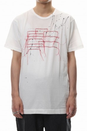 The Viridi-anne 18-19AW Print & Stitch Short Sleeve T White × Red