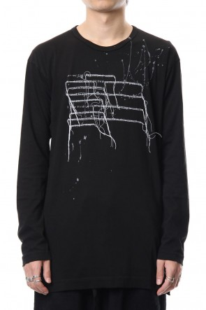 The Viridi-anne 18-19AW Print & Stitch Long Sleeve T Black × White