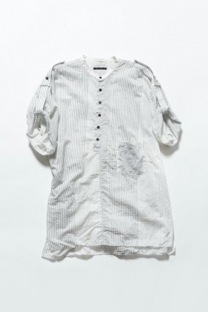 The Viridi-anne 19SS Striped product dyeing short-sleeved shirt White