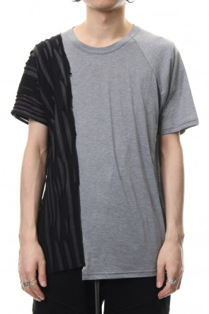 The Viridi-anne 19SS Border combination short sleeve T-shirt Black Stripe / Gray