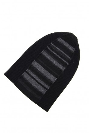 The Viridi-anne 19-20AW Cashmere Merino wool Knit cap - Black Stripe