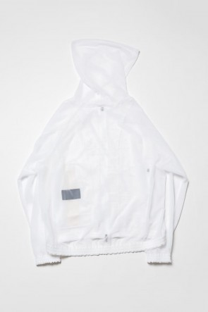 The Viridi-anne 20SS See throug Back print Hooded blouson White