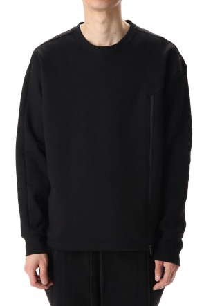 The Viridi-anne 20-21AW Cotton Fleece-Lined Sleeve Knit Crew Neck Black