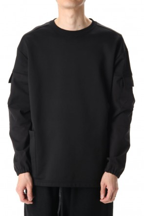 The Viridi-anne 20-21AW Cotton Nylon Fleece-Lined Crew-Neck Black