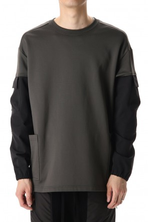 The Viridi-anne 20-21AW Cotton Nylon Fleece-Lined Crew-Neck Dark O.D