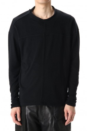 The Viridi-anne 20-21AW Cotton Wool Jersey Crew-Neck Long Sleeve T-Shirts Black