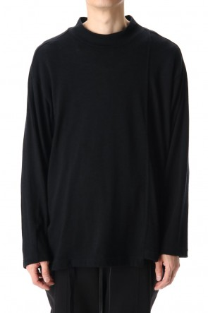 The Viridi-anne 20-21AW Cotton Wool Jersey High Neck Long Sleeve T-Shirts Black