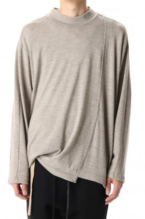 The Viridi-anne 20-21AW Cotton Wool Jersey High Neck Long Sleeve T-Shirts -Beige