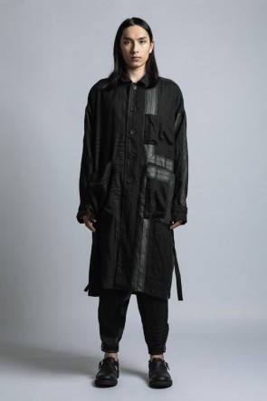 The Viridi-anne 21SS Square Print Linen Coat Black Stripe