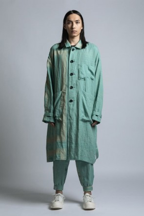The Viridi-anne 21SS Square Print Linen Coat Mint Green Stripe