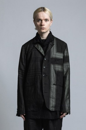 The Viridi-anne 21SS Square Print Linen Jacket Black Stripe