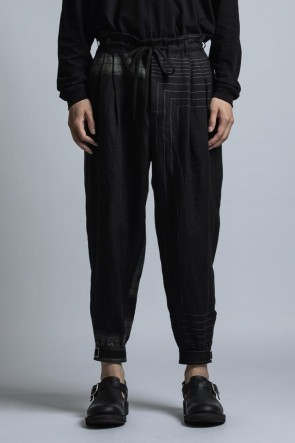 The Viridi-anne 21SS Square Print Linen Cuff Pants