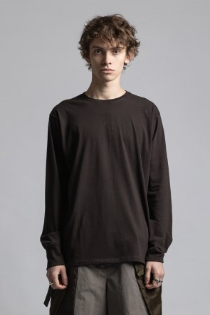 The Viridi-anne21-22AW40/- Jersey Stitch Embroidered Long Sleeve T-shirt Dark Brown